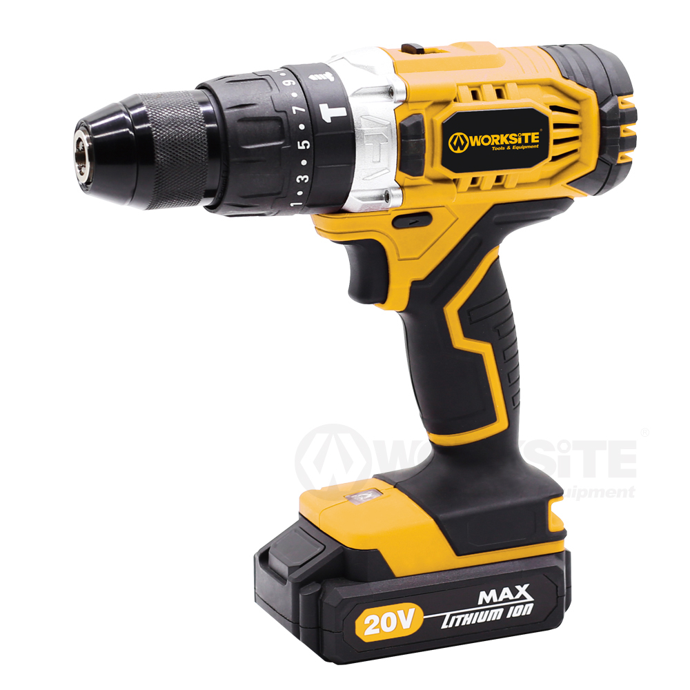 Cordless Hammer Drill, CD326H-20L, 13mm, Torque Setting: 21+1+1+1, 20V Max Li-ion, Reversible, 2.0AH Battery and FAST Charger