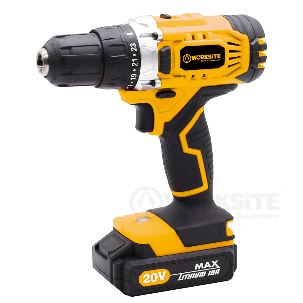 Cordless Drill, CD326, 13mm, Torque Setting: 23+1, 20V Max Li-ion, 2.0AH Battery and FAST Charger,  Reversible
