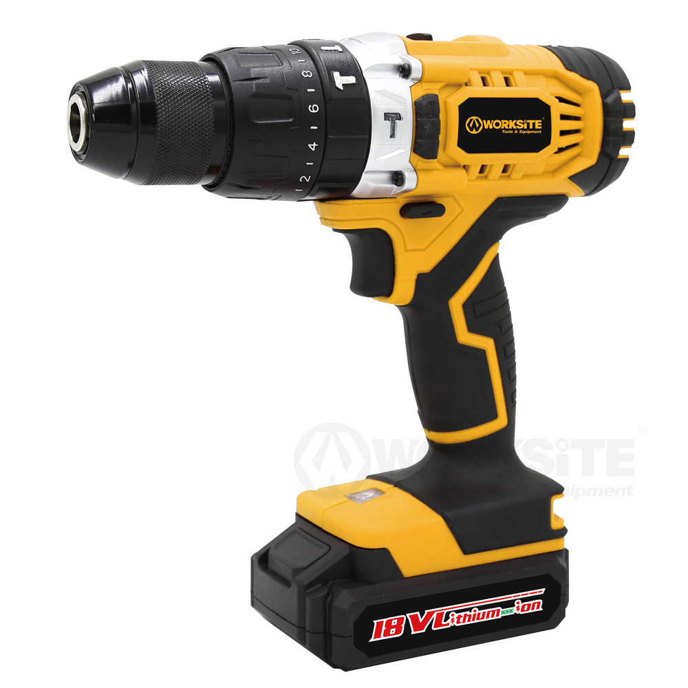 Cordless Hammer Drill, CD326H-18L,  13mm, Torque Setting: 21+1,  18V Li-ion, Reversible,  2.0AH Battery and FAST Charger