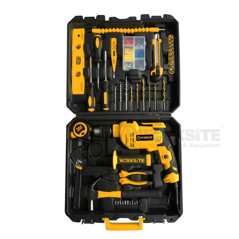 102PCS Impact Drill Kit, EID448-KIT,  650W, Adjustable speed,  Reversible, Home use