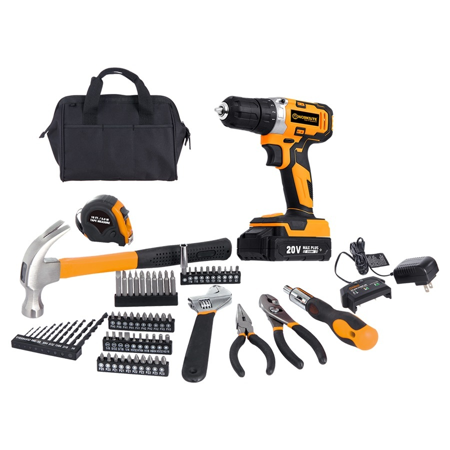 Worksite Drill Kit 20V Cordless Drill Screwdriver Bits Hammer Wrench 70Pcs Cordless Project Kit CT319