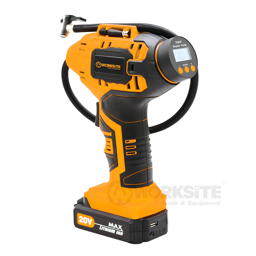 WORKSITE 20V Cordless Power Inflator, CAP115D, 2.0AH Battery and FAST Charger