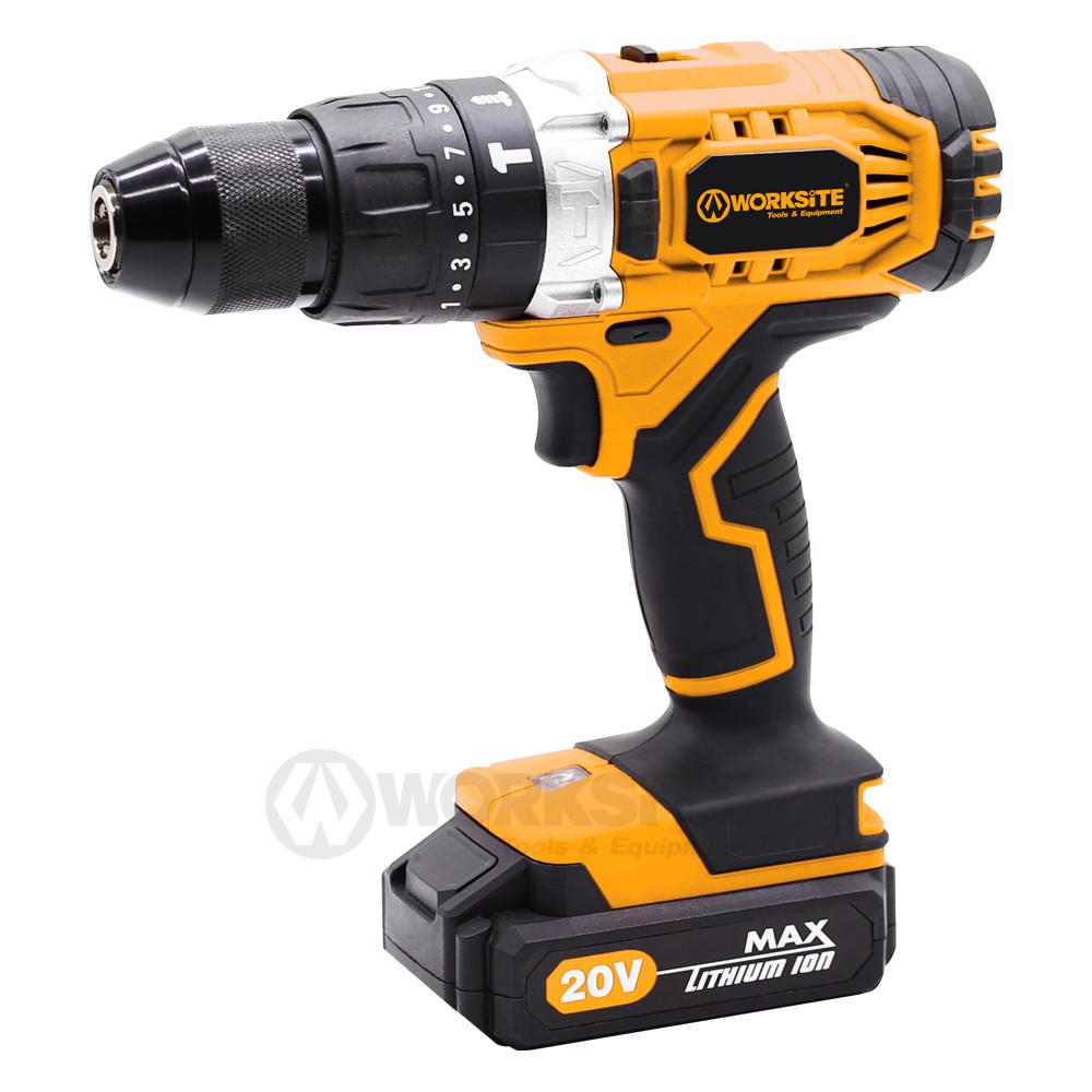 WORKSITE Cordless Hammer Drill, CD326H-20L, 13mm, Torque Setting: 21+1+1+1, 20V Max Li-ion