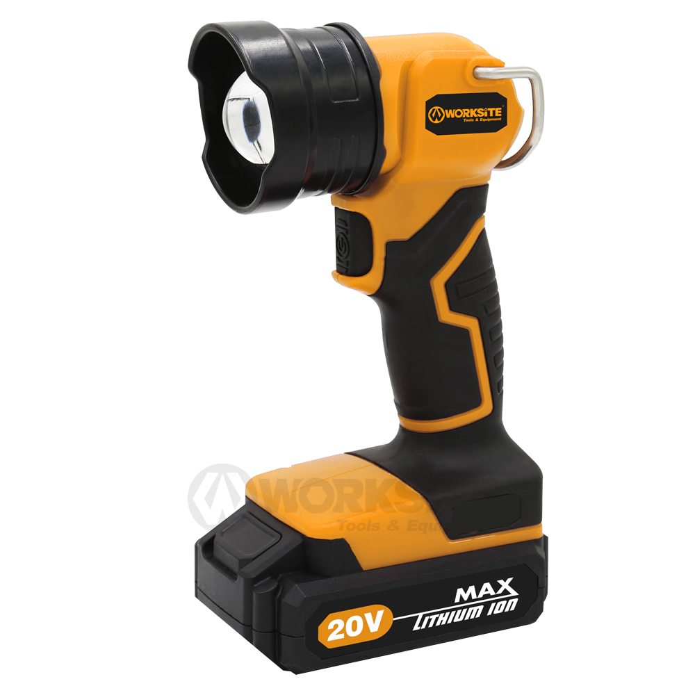 WORKSITE 20V Cordless Flashlight, CL326, 2.0AH Battery and FAST Charger